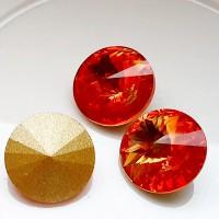 Rivoli kristalas orange, 12mm, 1 vnt.