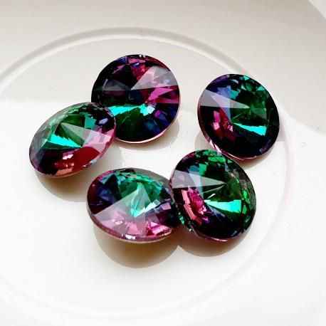 Rivoli kristalas emerald pink sp., 14 mm, 1 vnt.