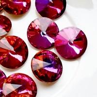 Rivoli kristalas dark pink sp., 14 mm, 1 vnt.