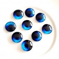 Stiklinis kabošonas akis mėlyna, 10mm, 1 vnt.