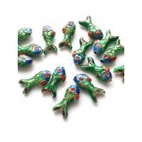 Cloisonne karoliukai žuvis žalia, MET 1254, 1 vnt.