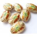 Cloisonne karoliukai ovalūs plokšti, MET 1257, 1 vnt.