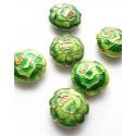 Cloisonne karoliukai žali su gėle, MET 1260, 1 vnt.