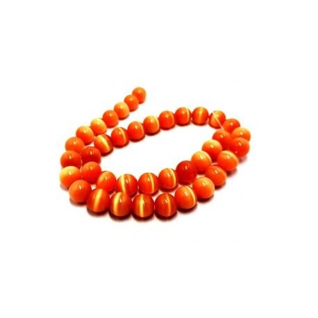 Katės akies oranžiniai, apvalūs 8 mm karoliukai