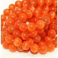 Katės akies kar., oranžiniai, apvalūs, 12mm, 1 vnt.