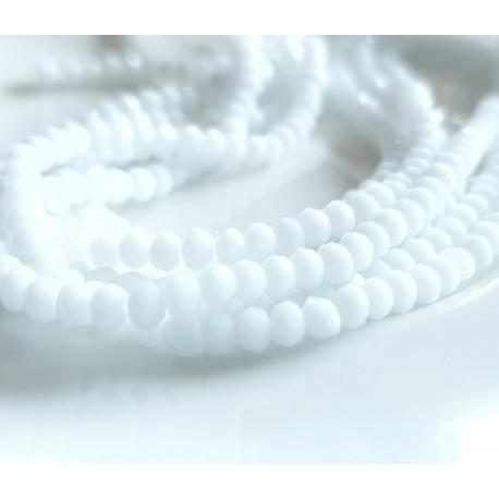 Stiklo karoliukai šlifuoti rondelės baltos sp., 3 mm, 1 juosta
