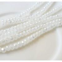 Stiklo karoliukai šlifuoti rondelės baltos AB sp., 2 mm, 1 juosta
