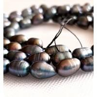 Perlai gėlavandeniai juodos sp., ryžių formos 7-8mm, 1 vnt.