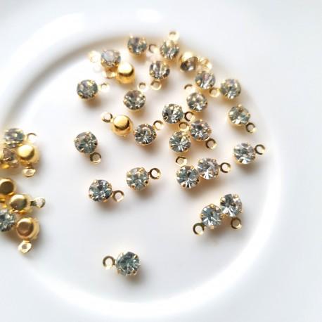 Pakabukas su kristalu aukso sp. žalvarinis, 4mm, 1 vnt.