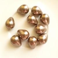 Kriauklės perlų lašai bronzos sp., 11x15mm, 1 vnt.