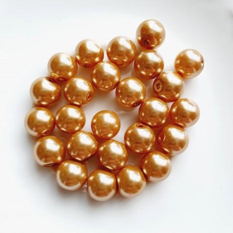 Stikliniai perlai aukso sp. 10 mm vėrinys 40 cm