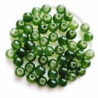 Stiklo karoliukai žalios sp., 6mm, 37 vnt.