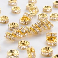 Intarpai aukso sp. su kristalais, nerūd. plienas, 6mm, 1 vnt.
