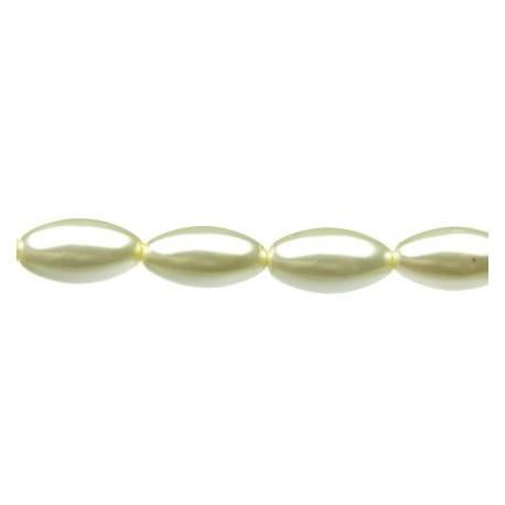 Perlai ryžio formos, baltos sp., čekiškas krištolas, 12x7mm, 38 vnt.