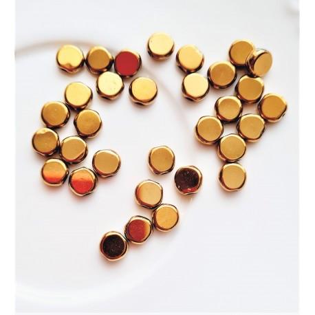 Hematitas aukso sp., monetos, 6mm, 1 vnt.