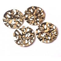 Apvalus banguotas pakabukas, aukso sp., 35mm, 1 vnt.