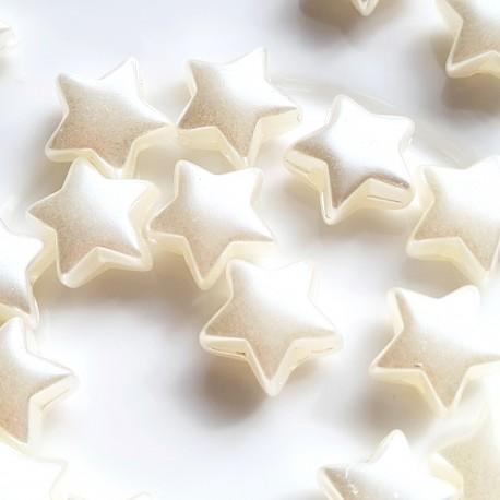 Akrilinė žvaigždė baltų perlų sp., 11mm, 1 vnt.