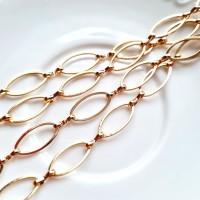 Grandinėlė aukso sp., su ovaliais žiedeliais 16x8,5mm, 50 cm