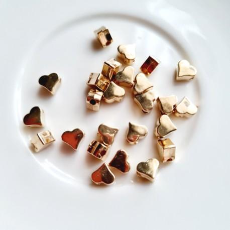 Akrilinės širdelės intarpai aukso sp., 6x3 mm, 5 vnt.