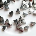 Akrilinės širdelės intarpai sidabro sp., 6x3 mm, 5 vnt.