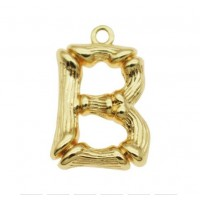 Pakabukas B raidė, aukso sp., 18x12 mm, 1 vnt.