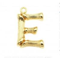 Pakabukas E raidė, aukso sp., 19x12 mm, 1 vnt.