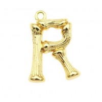 Pakabukas R raidė, aukso sp., 19x14 mm, 1 vnt.