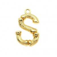 Pakabukas S raidė, aukso sp., 19x11 mm, 1 vnt.