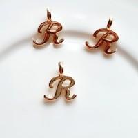 Pakabukas R raidė, nerūd. plieno, aukso sp., 10x8mm, 1 vnt.
