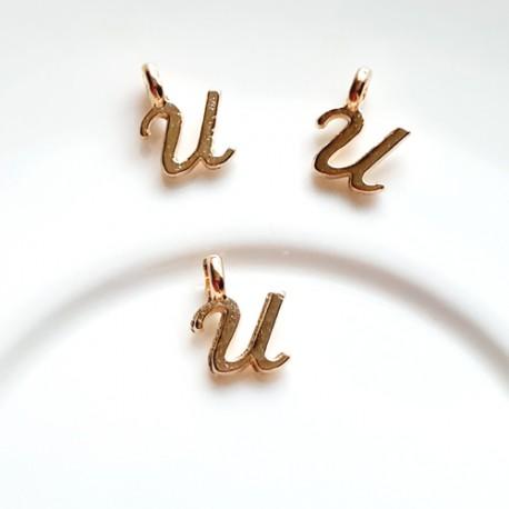 Pakabukas U raidė, nerūd. plieno, aukso sp., 11x7mm, 1 vnt.