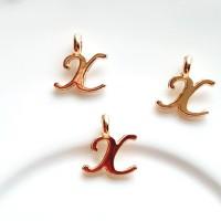 Pakabukas X raidė, nerūd. plieno, aukso sp., 11x10mm, 1 vnt.