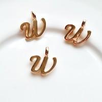 Pakabukas W raidė, nerūd. plieno, aukso sp., 11x10mm, 1 vnt.
