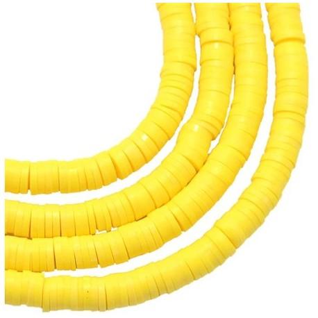 Modelino karoliukai plokšti, geltoni, 6x1mm, 1 vėrinys