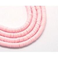 Modelino karoliukai plokšti, rožiniai, 6x1mm, 1 vėrinys