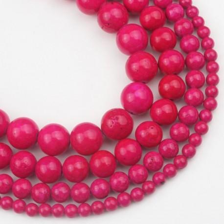 Fosilas (fuksijos), rožinis, dažytas, apvalus 8 mm, 1 vnt.