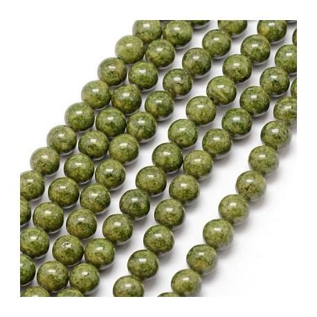 Fosilas (žalias), dažytas, apvalus 8 mm, 1 vnt.
