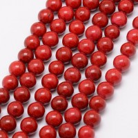 Fosilas (raudonas), dažytas, apvalus 6 mm, 1 vnt.