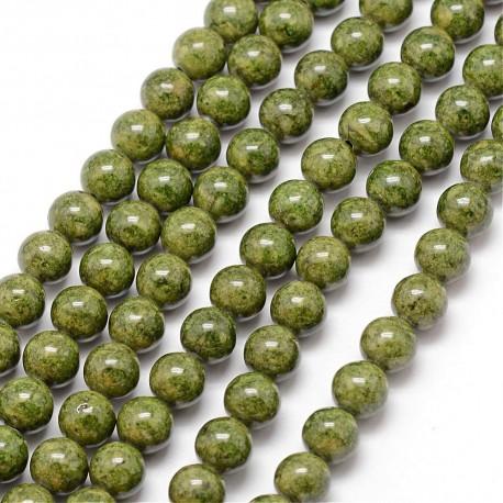 Fosilas (olivinės spalvos), apvalus, 8mm, 1 vnt.