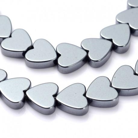 Hematitas, plokščia širdutė 6 mm, 1 vnt.