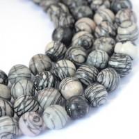 Jaspis (dryžuotas), apvalus 6 mm (1 vnt.)