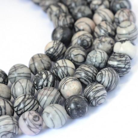 Jaspis (dryžuotas), apvalus 6 mm, 1 vnt.