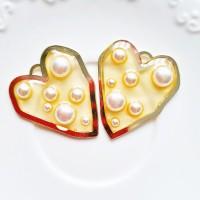 Pakabukas gelsva širdelė su perlais, 40x34,5mm, 1 vnt.