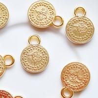 Akrilinės monetos pakabukai aukso sp. 18x13mm, 1 vnt.