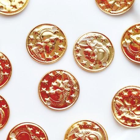 Pakabukas moneta sukaso spalvos smulki, 10 mm. 1 vnt.