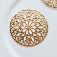 Apvali ornamentuota detalė aukso sp., 25mm, 1 vnt.