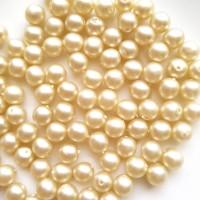 Perlai nelygiai apvalios taškuotos formos, baltos sp., čekiškas krištolas, 8 mm, 15 vnt.