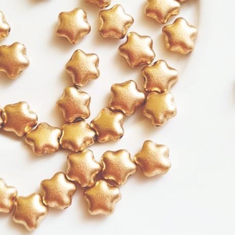 Čekiški karoliukai žvaigždė, matinio aukso sp., 6 mm, 10 vnt.