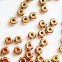 Čekiški stikliniai karoliukai, intarpai, aukso sp., 2,5x4mm, 10 vnt.