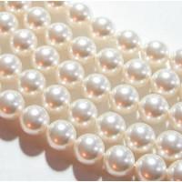 Perlai nelygiai apvalios formos, baltos sp., čekiškas krištolas, 8-9 mm, 10 vnt.