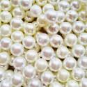 Perlai su grioveliais, baltos sp., čekiškas krištolas, 10 mm, 21 vnt.